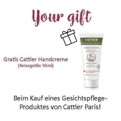 Gratis Cattier Handcreme beim Kauf eines Gesichtspflege-Produktes von Cattier Paris!